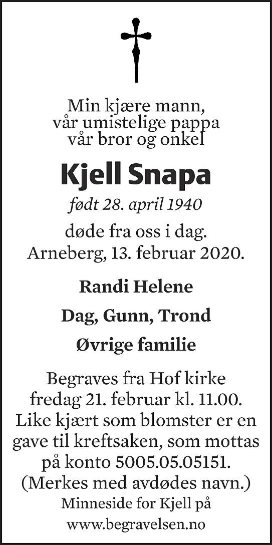 Kjell Snapa Dødsannonse