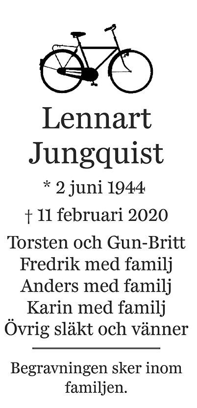 Lennart Jungquist Death notice