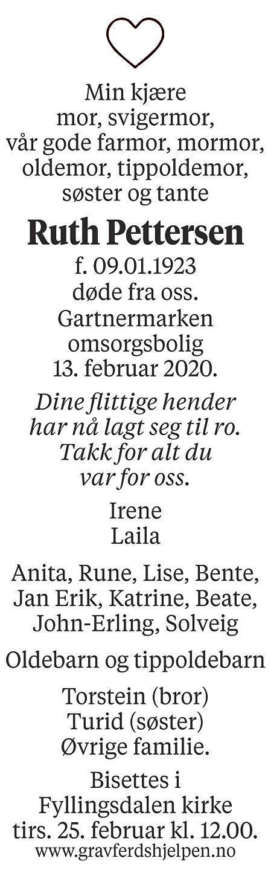 Ruth Pettersen Dødsannonse