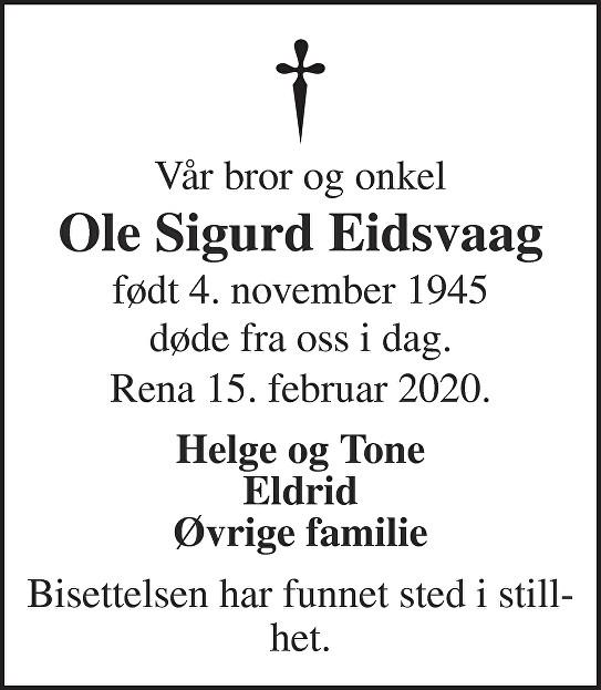 Ole Sigurd Eidsvaag Dødsannonse