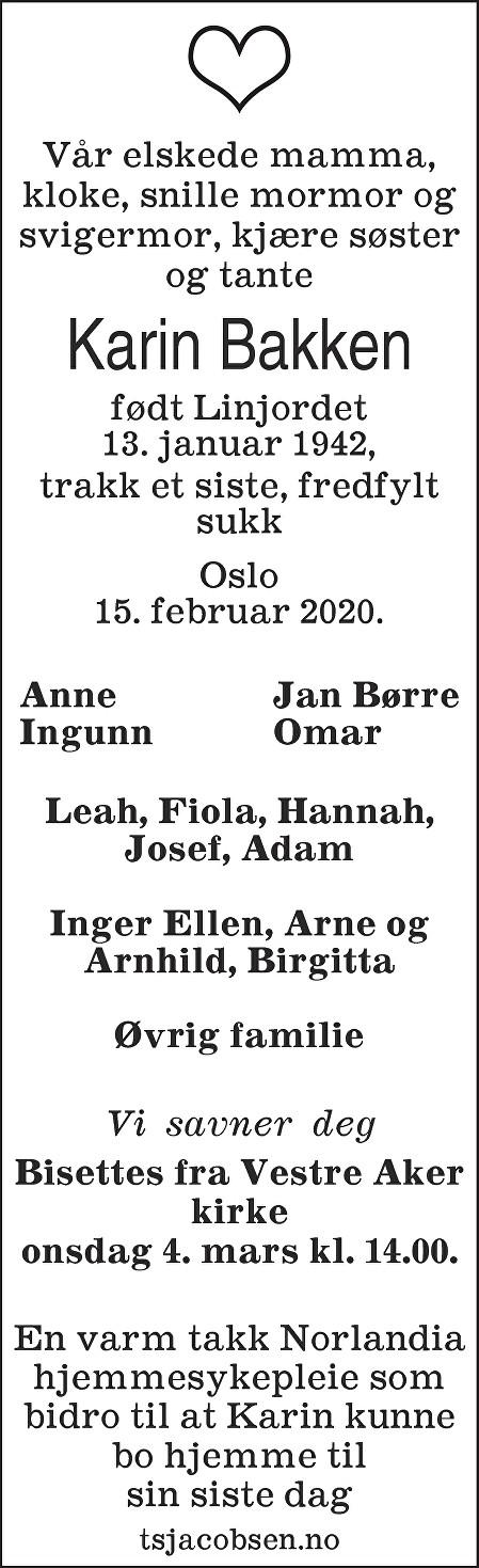 Karin Margrethe Bakken Dødsannonse