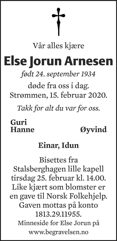 Else Jorun Arnesen Dødsannonse