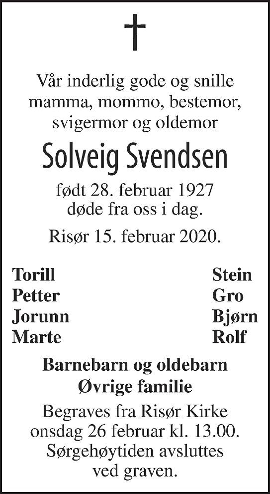 Solveig Svendsen Dødsannonse