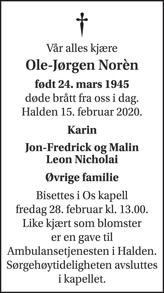 Ole-Jørgen Norèn Dødsannonse