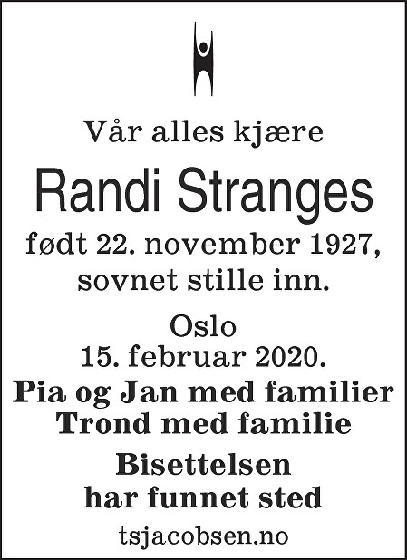 Randi Stranges Dødsannonse