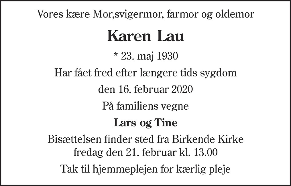 Karen Marie Nellemose  Lau Death notice