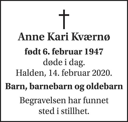 Anne Kari Kværnø Dødsannonse