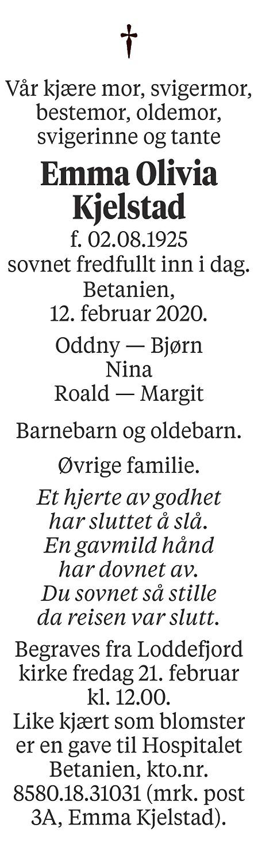 Emma Olivia Kjelstad Dødsannonse