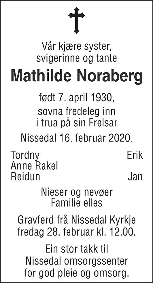 Mathilde Noraberg Dødsannonse