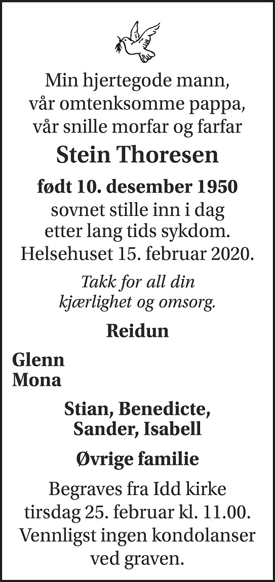 Stein Thoresen Dødsannonse