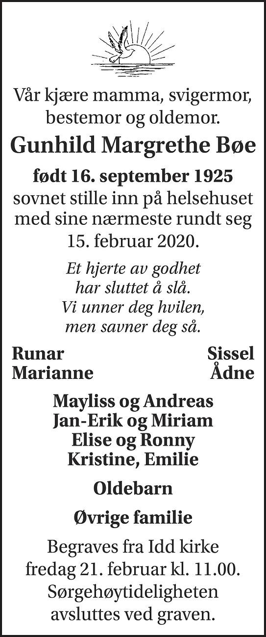 Gunhild Margrethe Bøe Dødsannonse