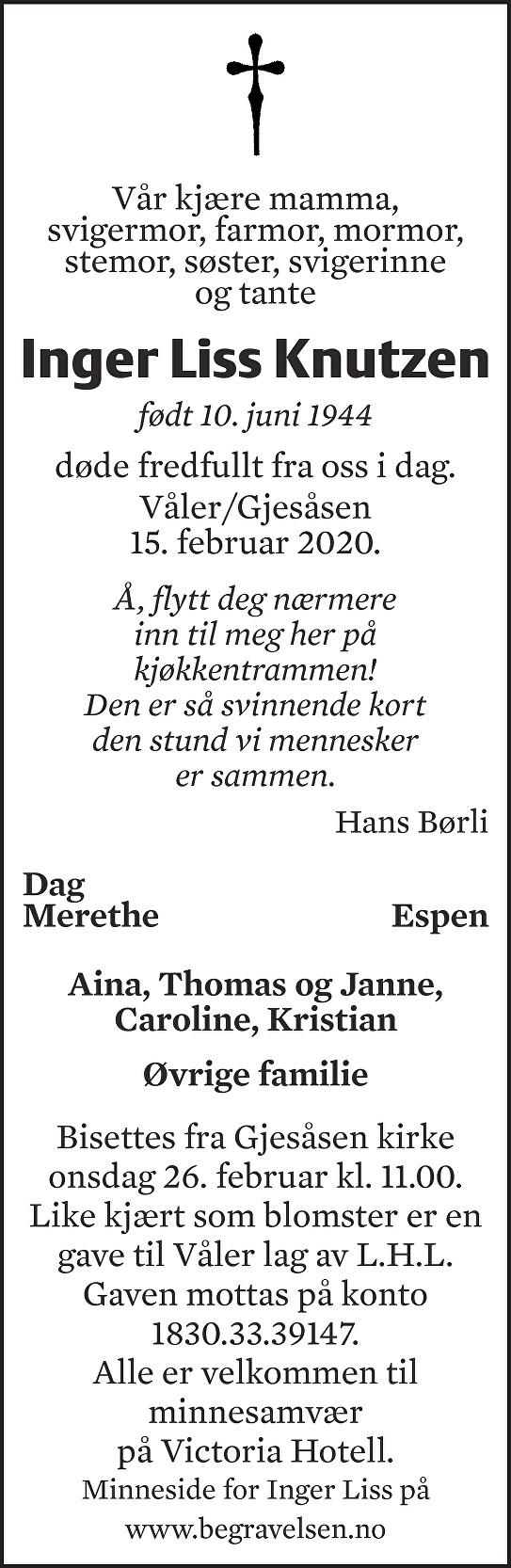 Inger Liss Knutzen Dødsannonse
