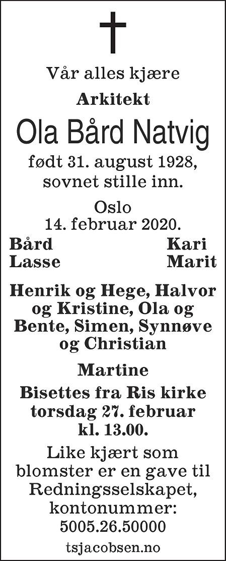 Ola Bård Natvig Dødsannonse