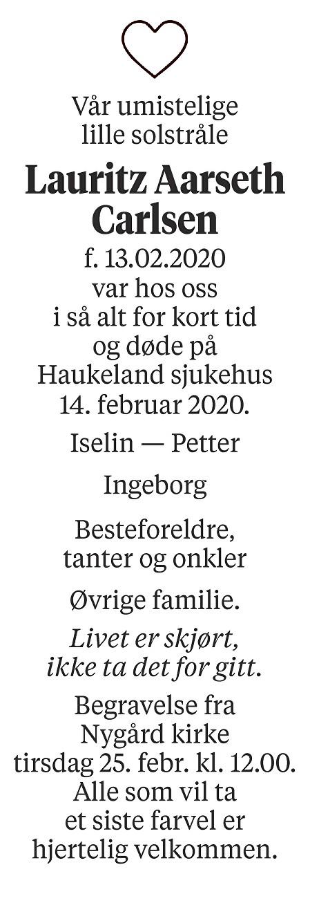 Lauritz Aarseth Carlsen Dødsannonse