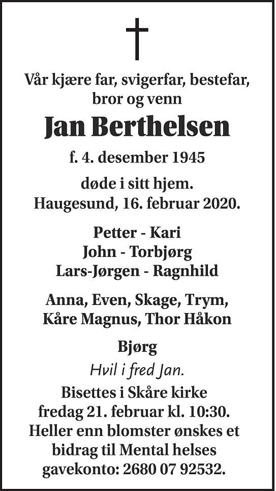 Jan Berthelsen Dødsannonse