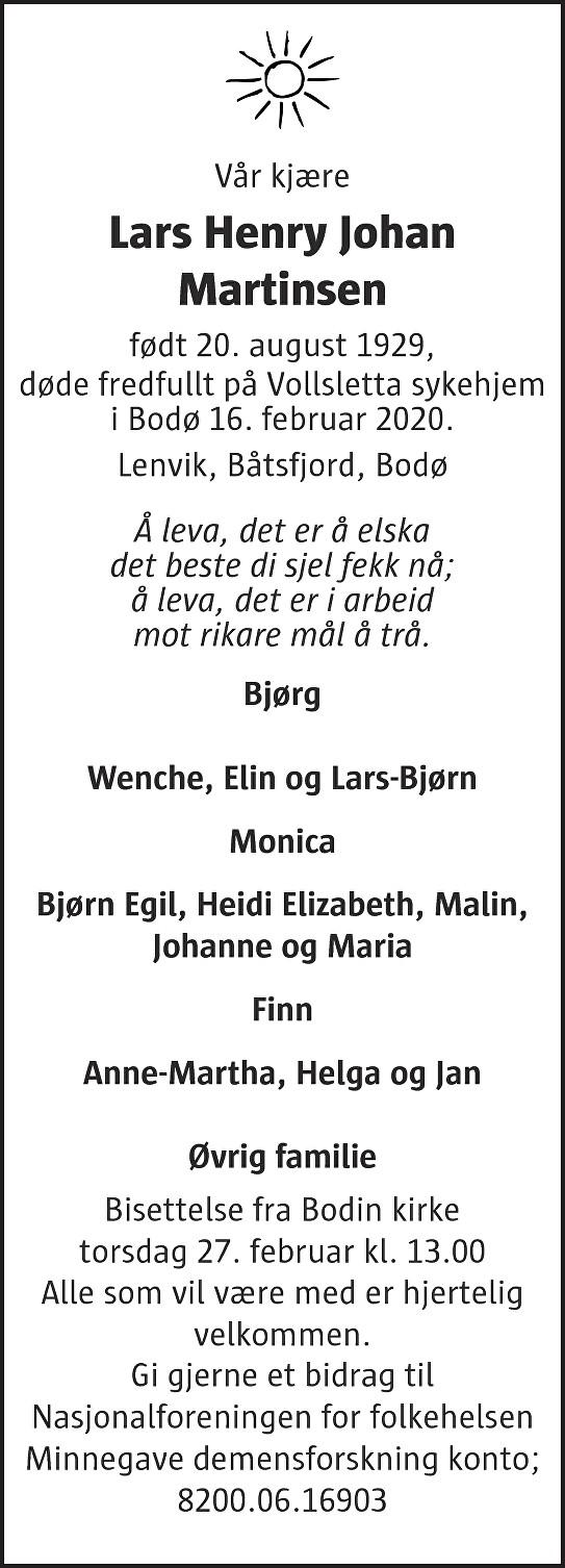 Lars Henry Johan Martinsen Dødsannonse