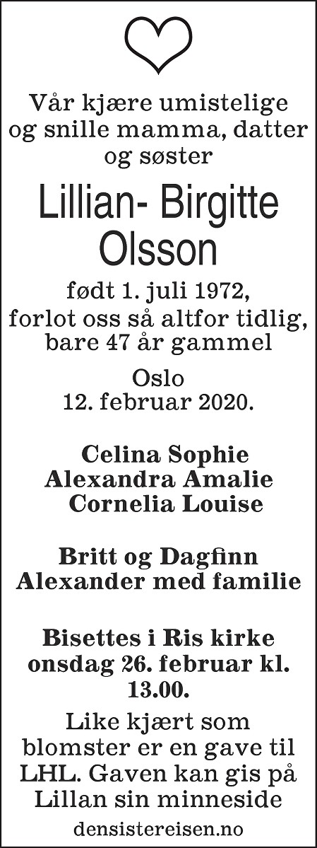 Lillian- Birgitte Olsson Dødsannonse