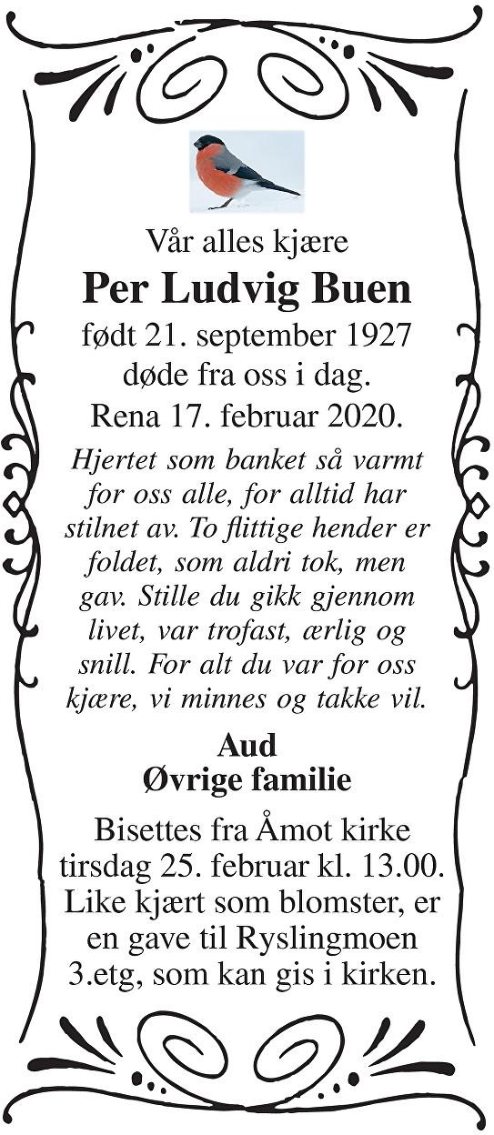 Per Ludvig Buen Dødsannonse