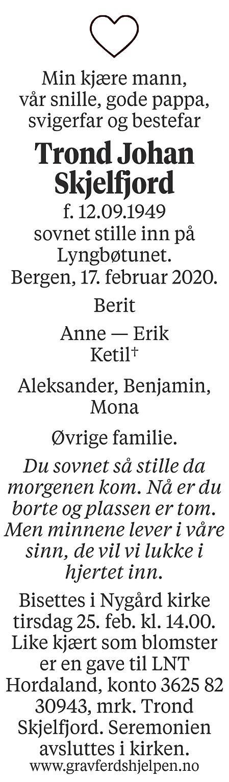 Trond Johan Skjelfjord Dødsannonse
