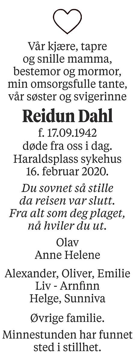 Reidun Dahl Dødsannonse