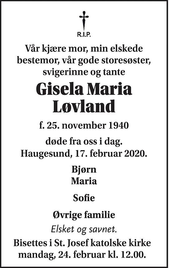 Gisela Maria  Løvland Dødsannonse