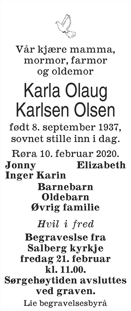 Karla Olaug Karlsen Olsen Dødsannonse