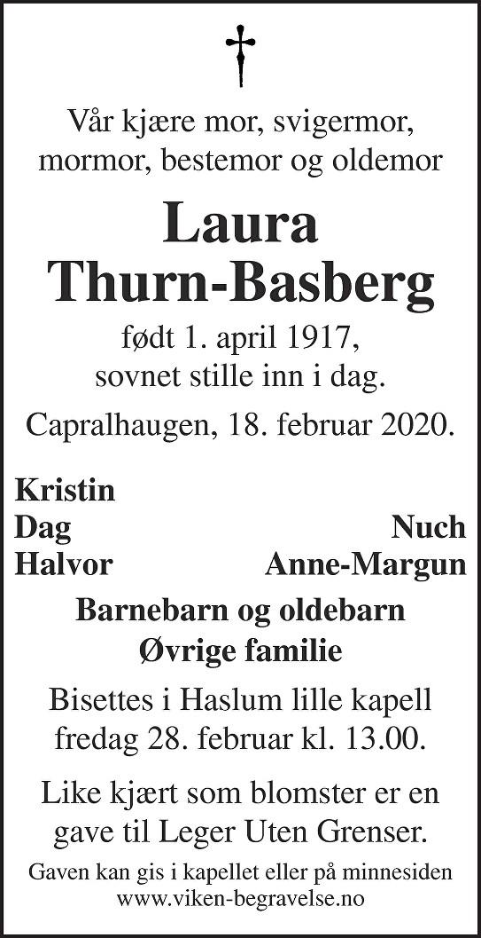 Laura Thurn-Basberg Dødsannonse