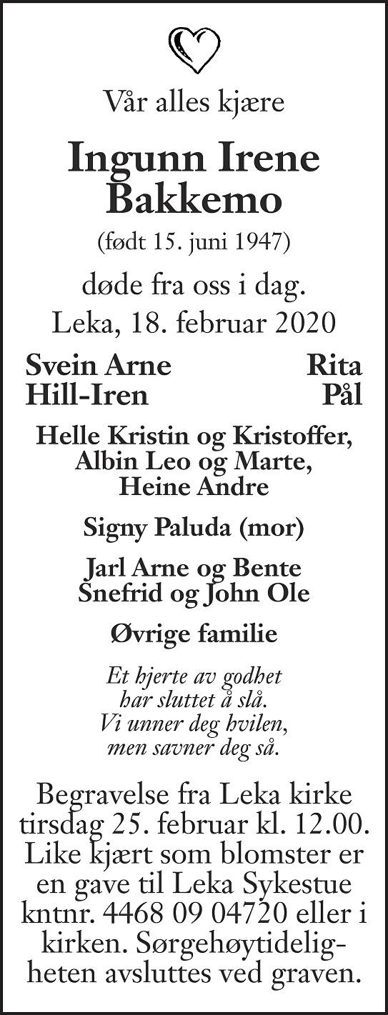 Ingunn Irene Bakkemo Dødsannonse