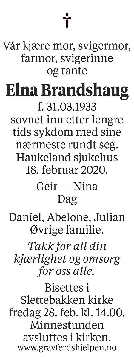 Elna Brandshaug Dødsannonse