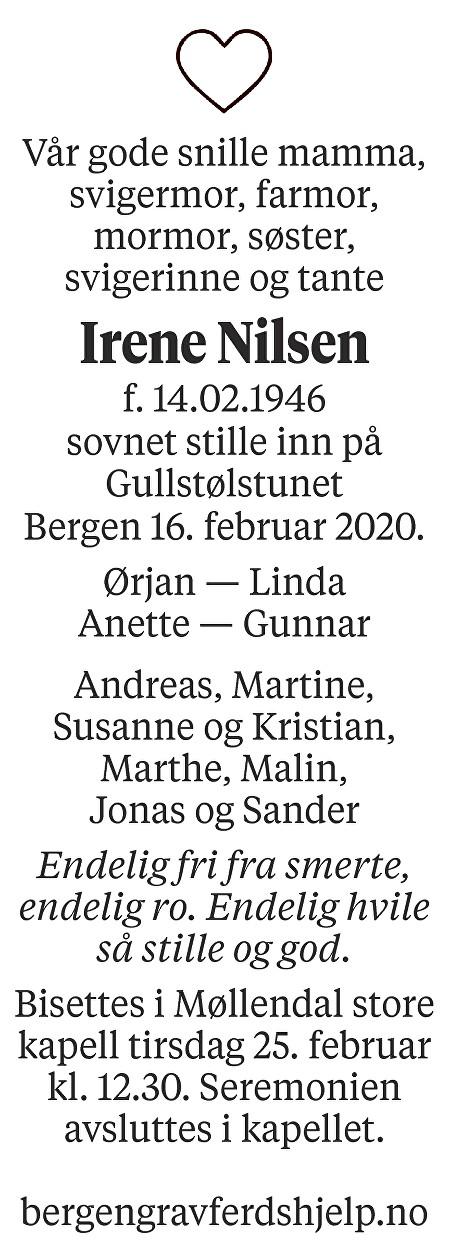 Irene  Nilsen Dødsannonse