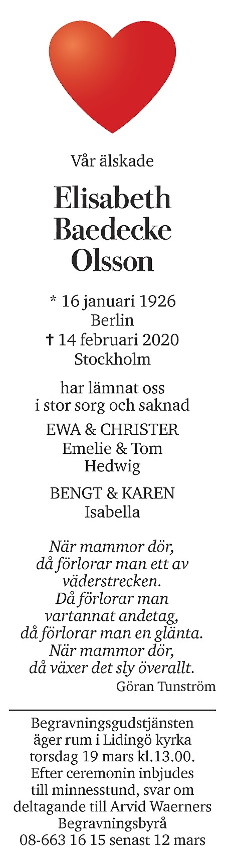 Elisabeth Baedecke-Olsson Death notice