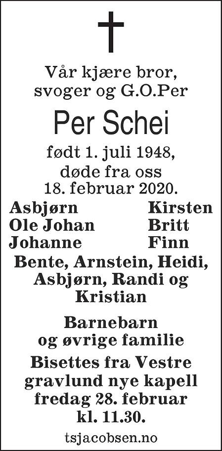 Per Schei Dødsannonse