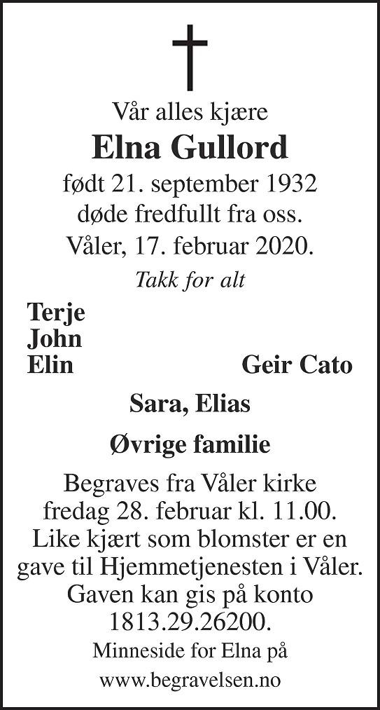 Elna Gullord Dødsannonse
