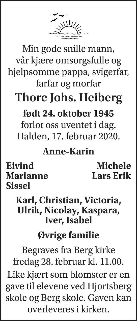 Thore Johannes Heiberg Dødsannonse