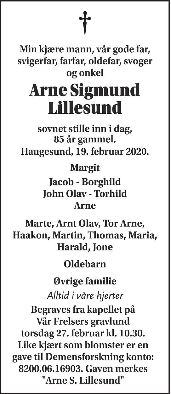 Arne Sigmund Lillesund Dødsannonse