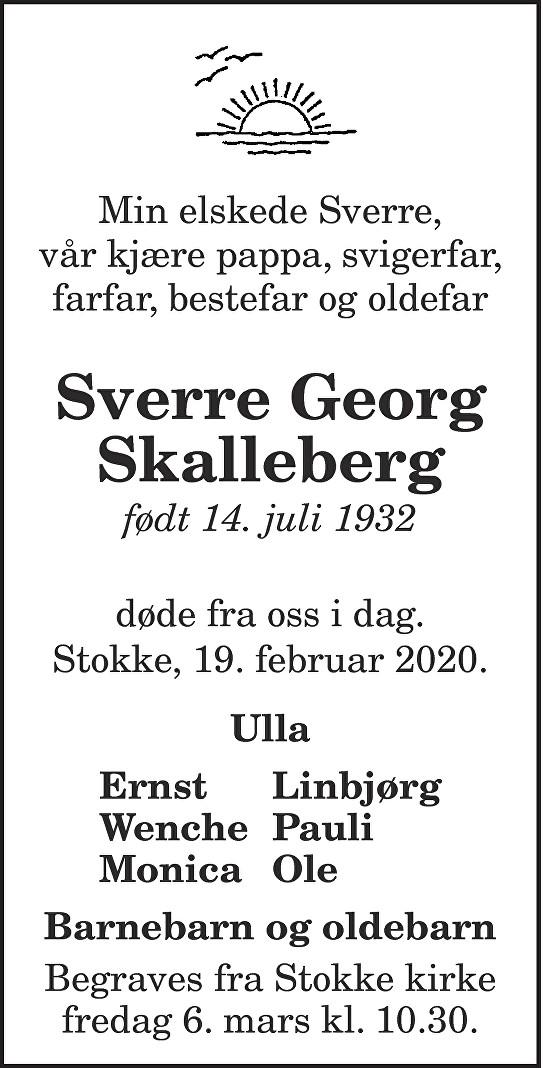 Sverre Skalleberg Dødsannonse