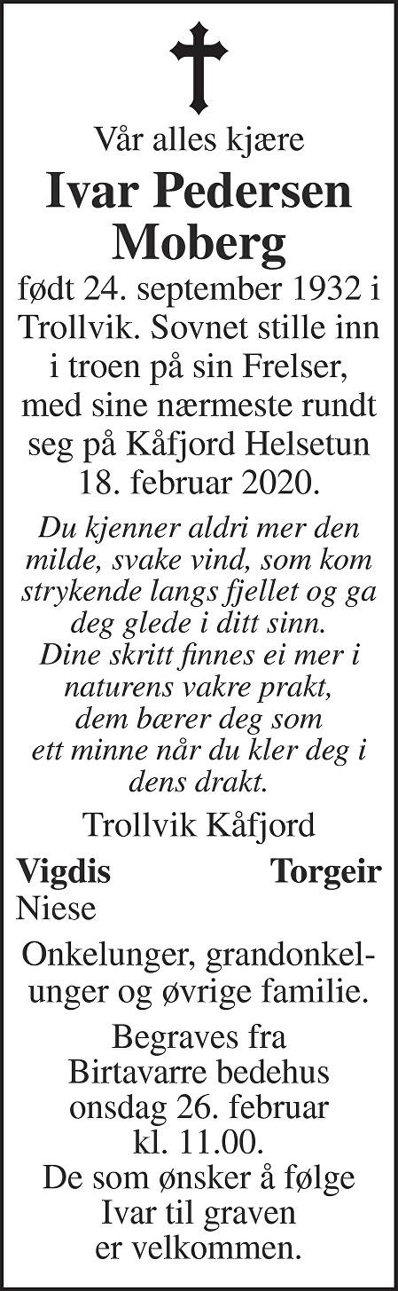 Ivar Pedersen Moberg Dødsannonse