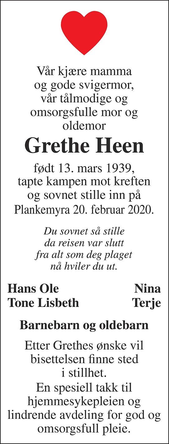 Grethe Torbjørg Heen Dødsannonse
