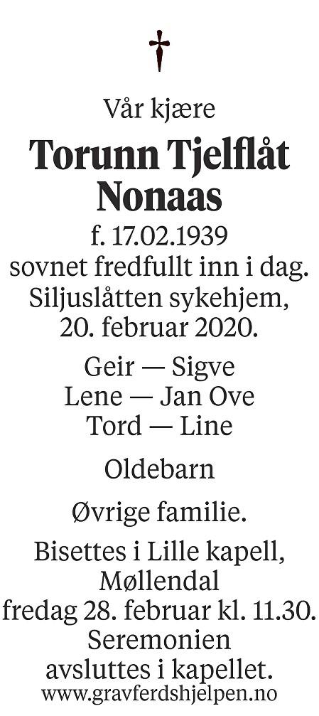 Torunn Tjelflåt Nonaas Dødsannonse