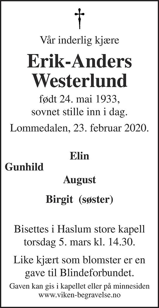 Erik-Anders Westerlund Dødsannonse