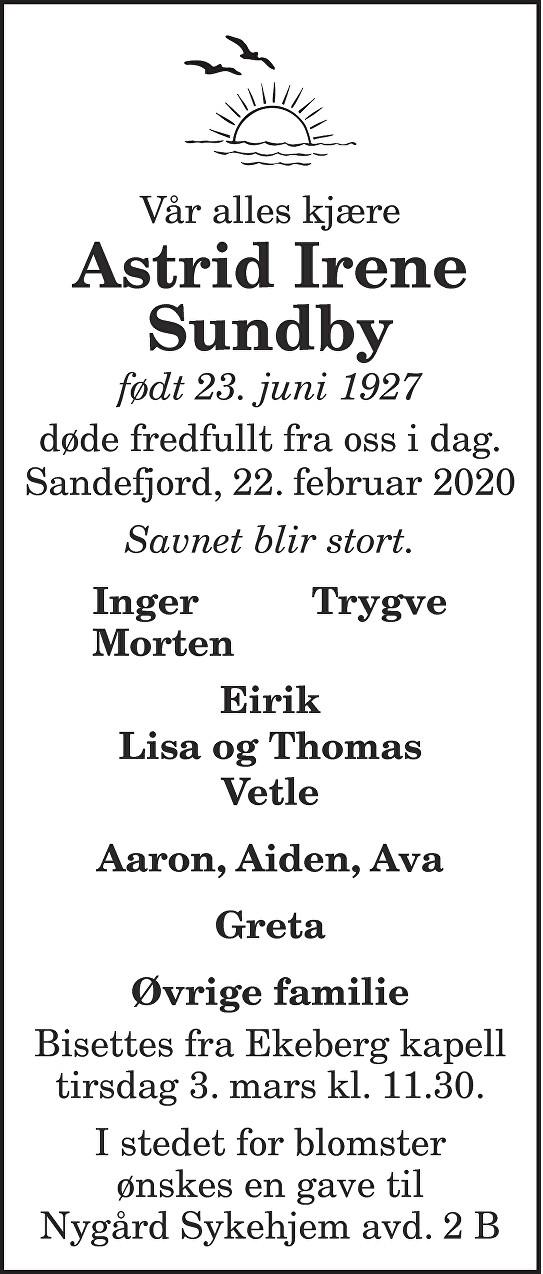 Astrid Irene Sundby Dødsannonse