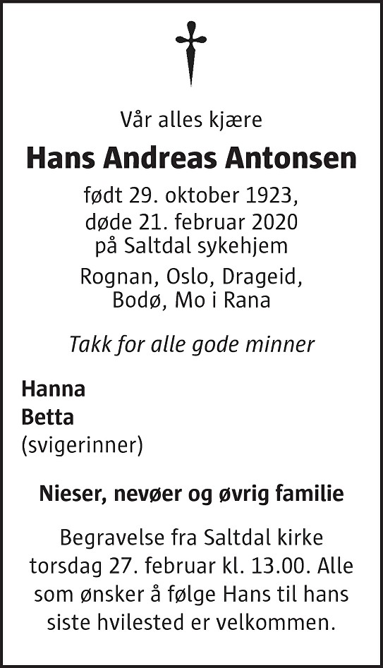 Hans Andreas Antonsen Dødsannonse