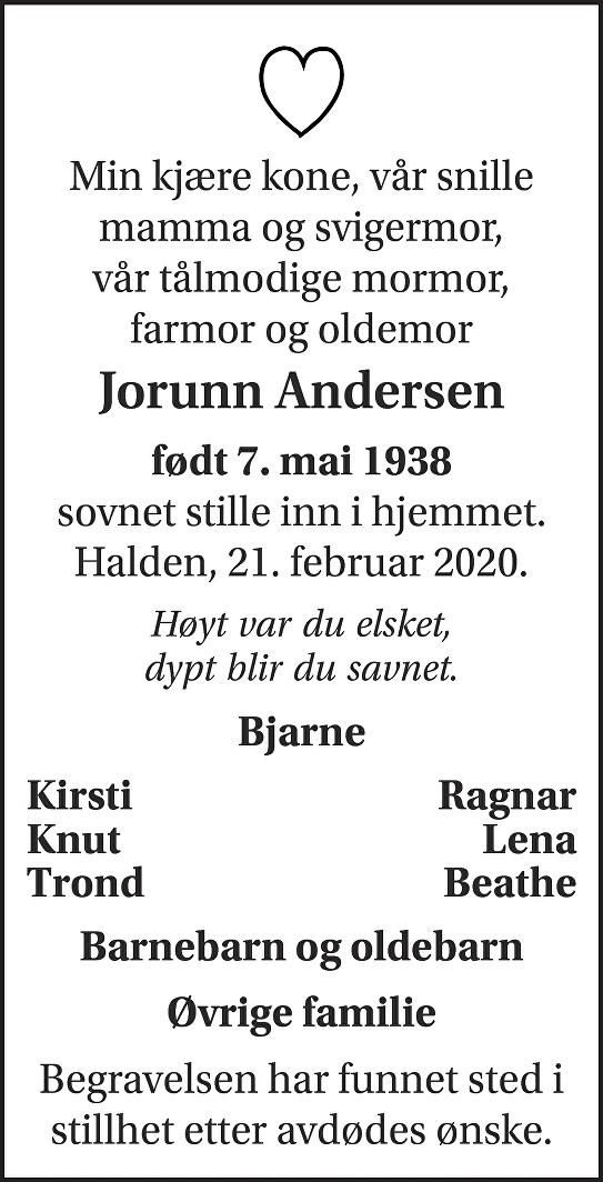 Jorun Andersen Dødsannonse