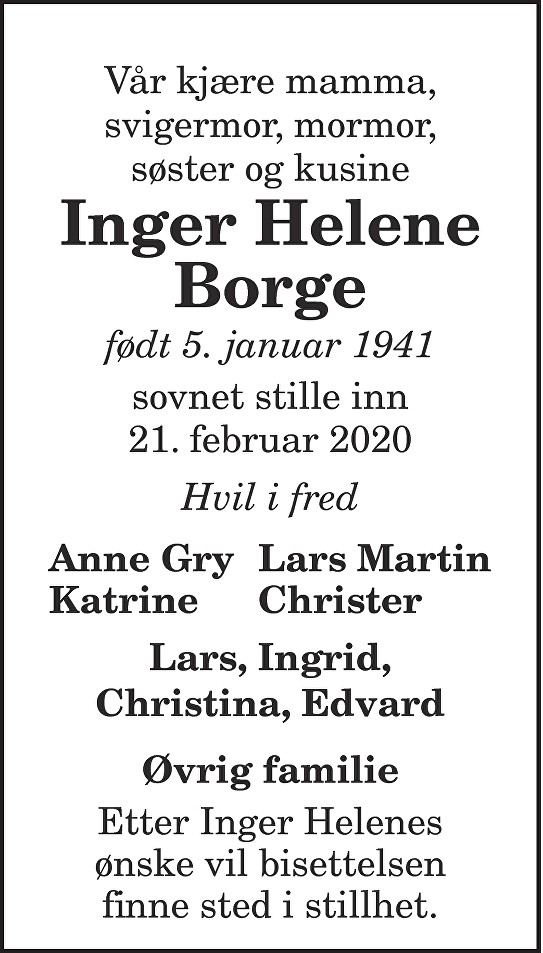 Inger Helene Borge Dødsannonse