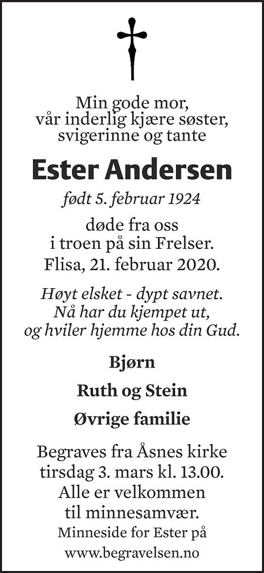 Ester Andersen Dødsannonse