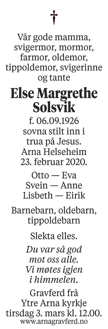 Else Margrethe  Solsvik Dødsannonse