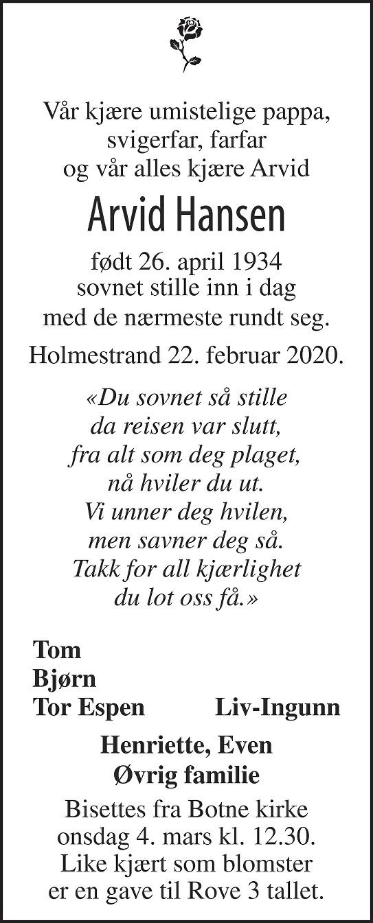 Arvid Hansen Dødsannonse