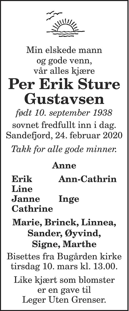 Per Erik Sture Gustavsen Dødsannonse