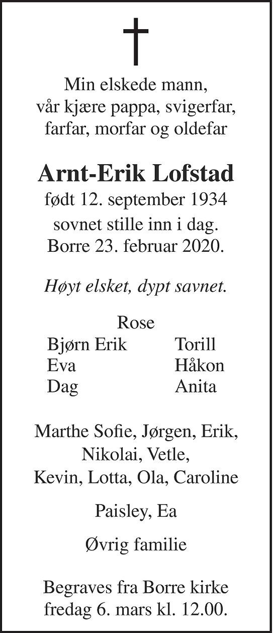 Arnt-Erik Lofstad Dødsannonse