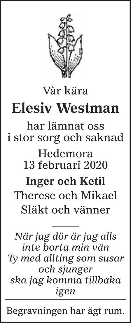 Elesiv Westman Death notice
